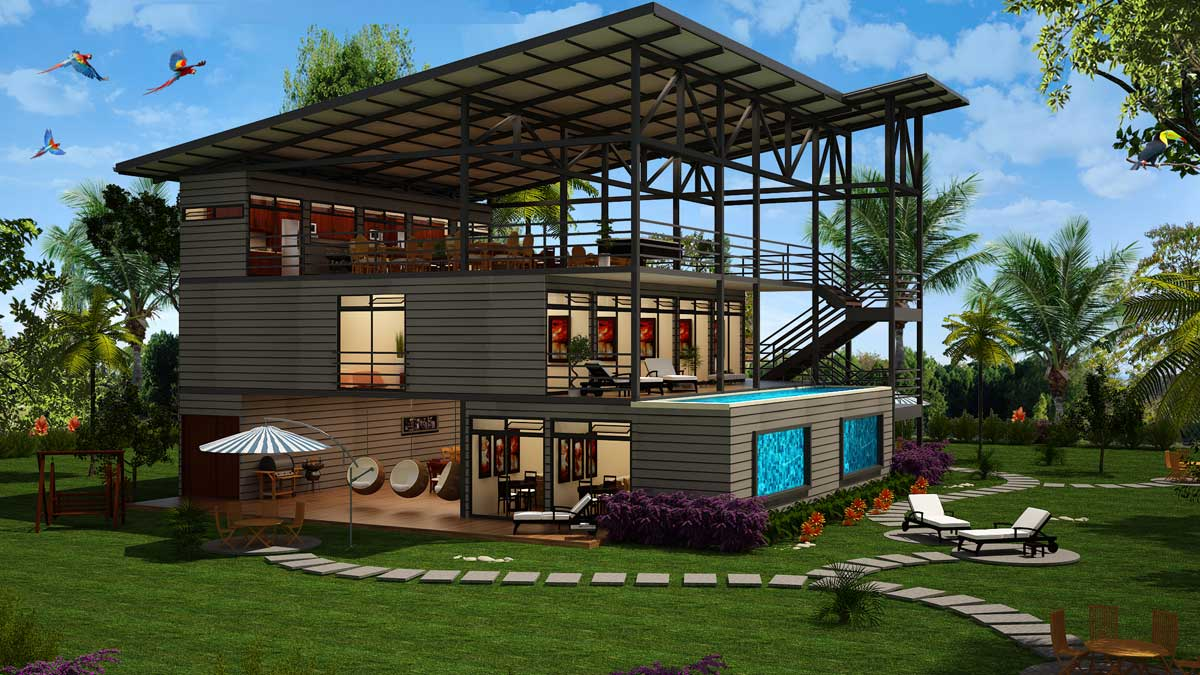 Container villa hotel costa rica container homes in for Villa en container
